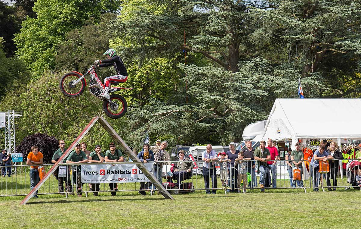 Inch Perfect trials bike demonstration at the AA ARB Show 2016 at Westonbirt, The National Arboretum