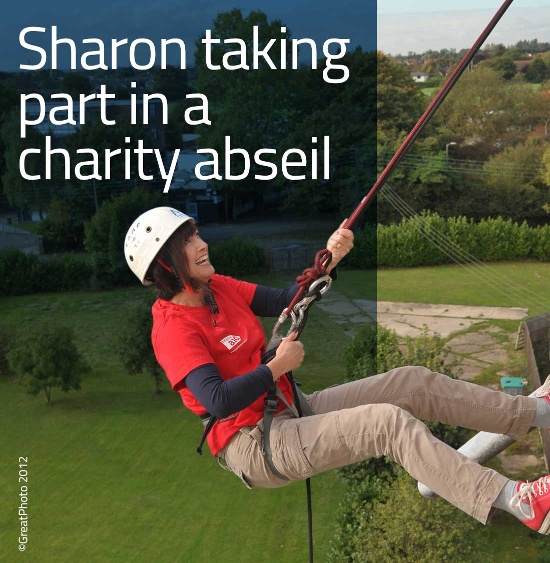 Sharon taking part in a charity abseil.