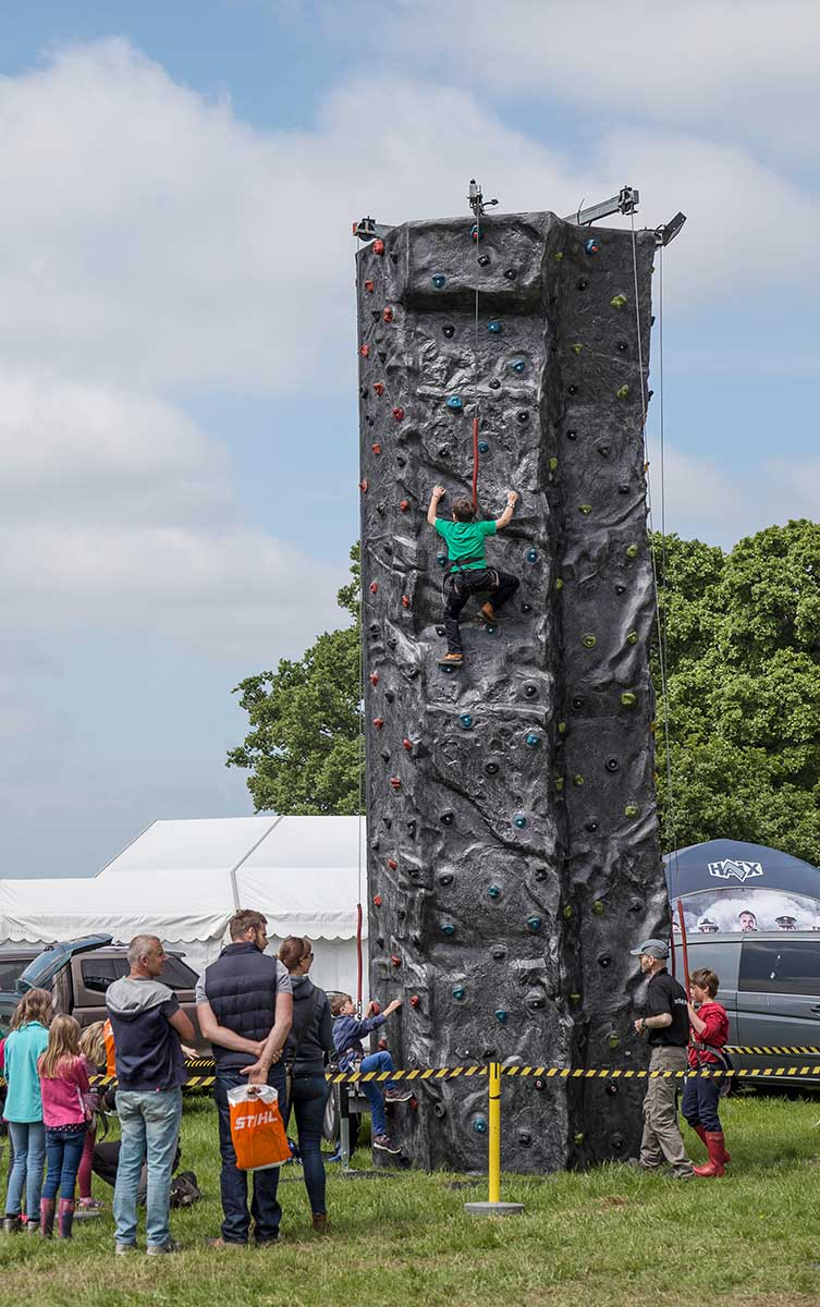 The climbing wall at the AA ARB Show 2016 at Westonbirt, The National Arboretum