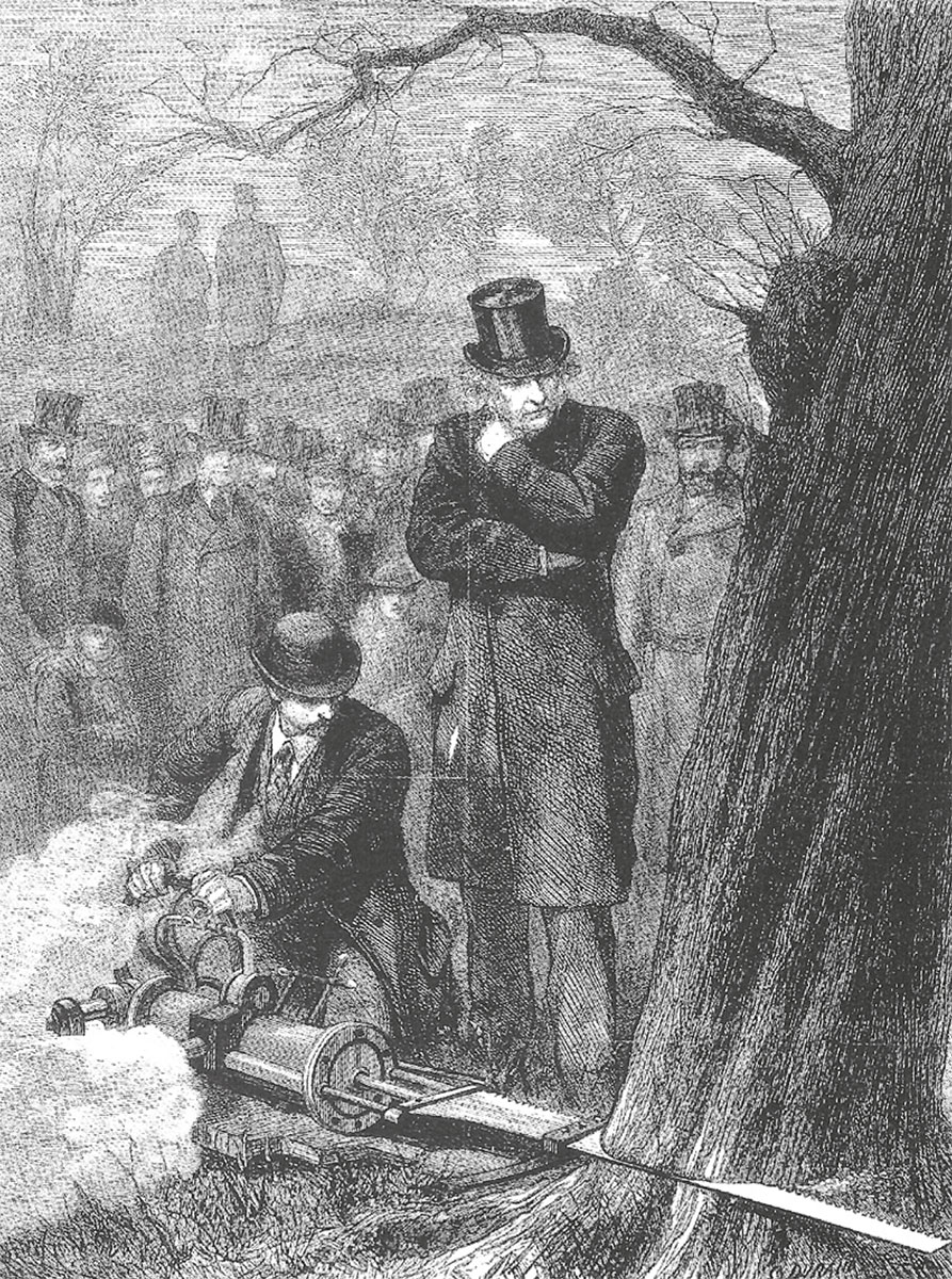 Steam-powered tree felling in 1878, watched by leading politician William Gladstone.
