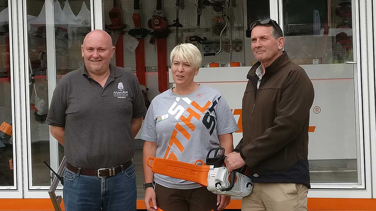 Mike Metcalfe receiving his new MS201 TC-M Chainsaw
