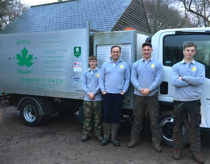 Left to right: Tom Baddeley, Mark Hawes, Reece Smith and Tom Townsend of Hawes Arborists Ltd.