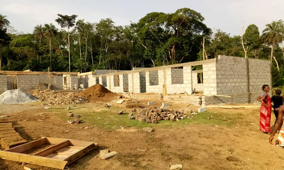 Building work on the new classrooms continues apace