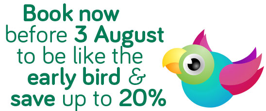 Get your Early Bird discount and save up to 20%25 by booking before 3 August