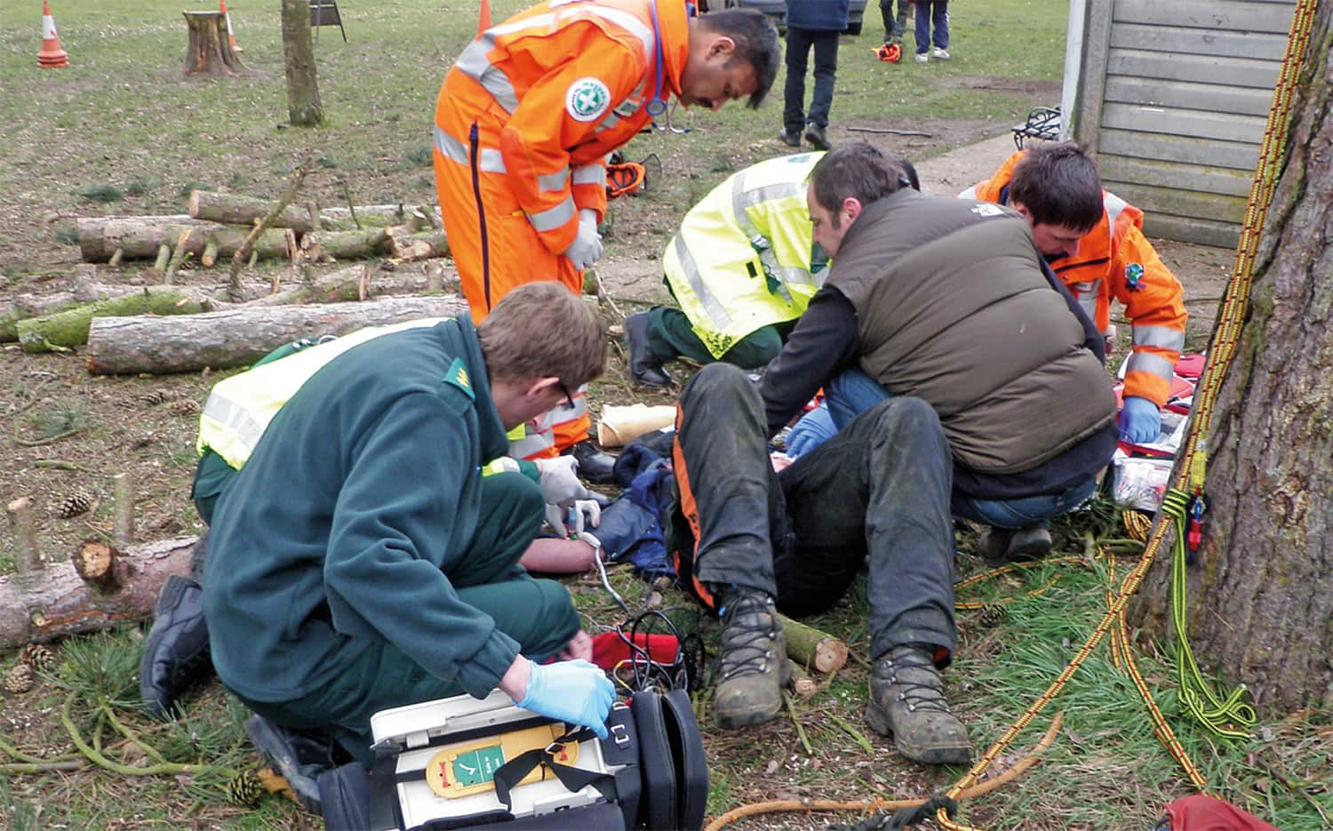 First Aid being administered to an injured arborist