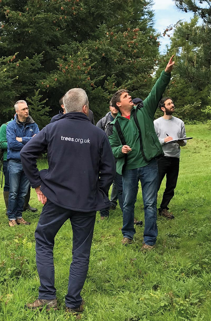Collections Manager Dan Luscombe with delegates at Bedgebury National Pinetum.
