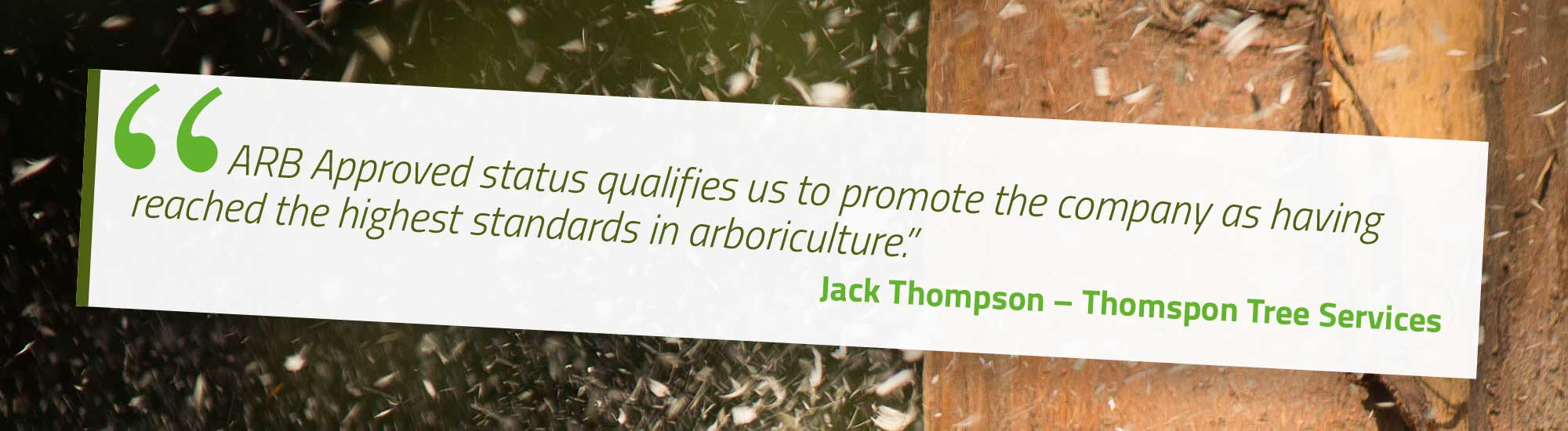 ARB Approved status qualifies us to promote the company as having reached the highest standards in arboriculture. Jack Thompson – Thomspon Tree Services