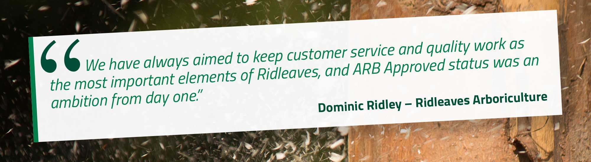 We have always aimed to keep customer service and quality work as the most important elements of Ridleaves, and ARB Approved status was an ambition from day one. Dominic Ridley – Ridleaves Arboriculture